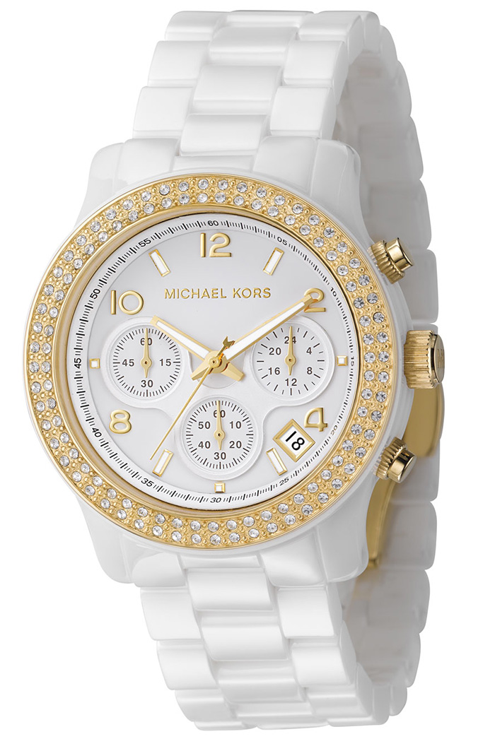 authentic michael kors gold chronograph white ceramic